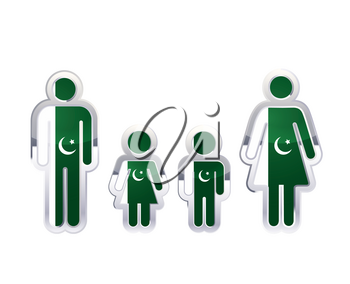 Glossy metal badge icon in man, woman and childrens shapes with Pakistan flag, infographic element isolated on white