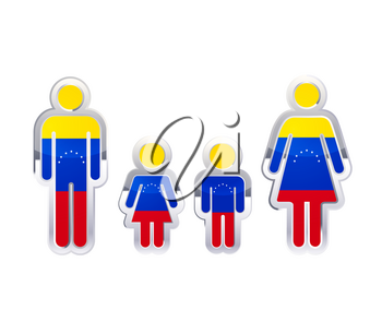 Glossy metal badge icon in man, woman and childrens shapes with Venezuela flag, infographic element isolated on white