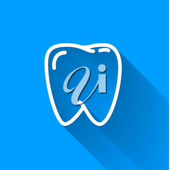 Human teeth, simple white icon with long shadow on blue background