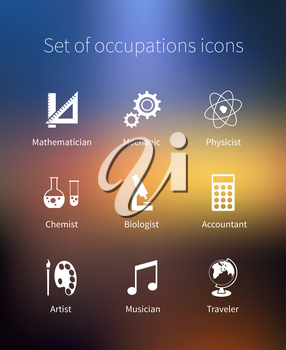 Set of occupations icons - mathematician, mechanic, physicist, chemist