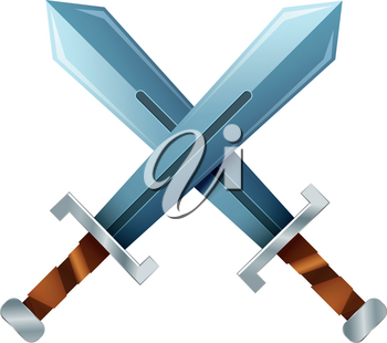 Crossed swords, cartoon icon isolated on white