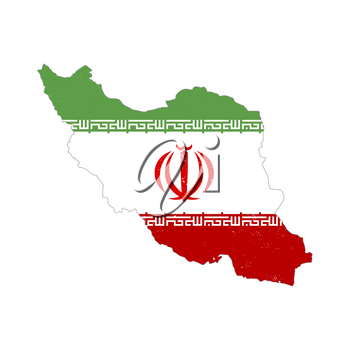 Iran country silhouette with flag on background on white