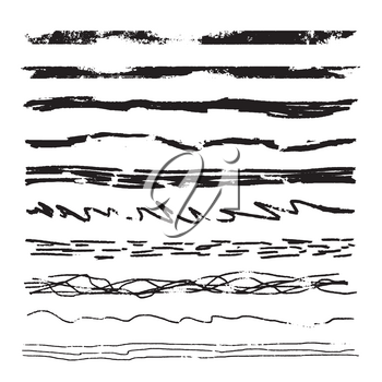 Large set of pencil grunge brushes. Hand drawn ink strokes isolated on white