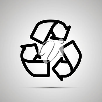 Recycling simple black outline icon with shadow