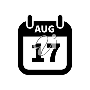 Simple black calendar icon with 17 august date on white