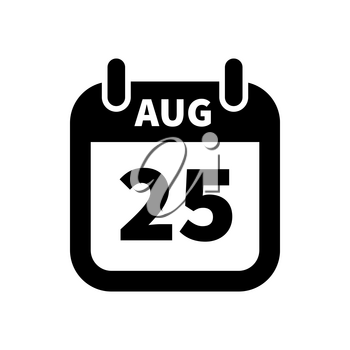 Simple black calendar icon with 25 august date on white