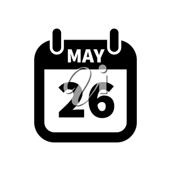Simple black calendar icon with 26 may date on white