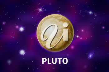 Bright realistic Pluto planet on colorful deep space background with bright stars and constellations