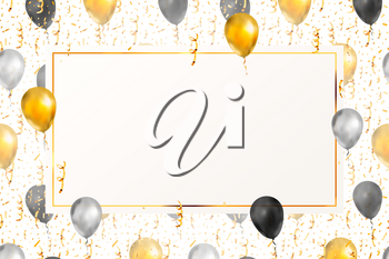 Luxury background with bright golden serpentine, confetti and balloons on white with blank banner template