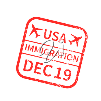 USA International travel visa stamp isolated on white. Arrival sign red rubber stamp with texture