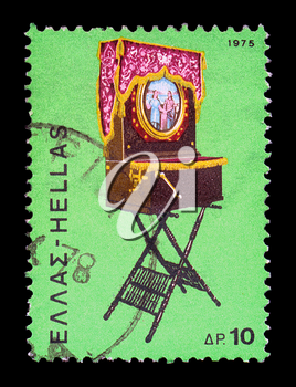 GREECE - CIRCA 1975. Vintage postage stamp with traditional Greek laterna music box portable barrel piano illustration, circa 1975.