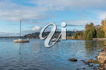 Boats are anchored in front of Coulon Park in Renton, Washington.