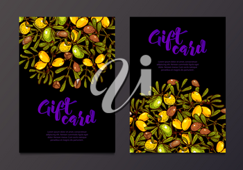 Rich gift certificates with the argan tree branches with oil background. Bohemian Cards. Unique cards for printing supplies.For organic businesses, stores of essential oils, soaps