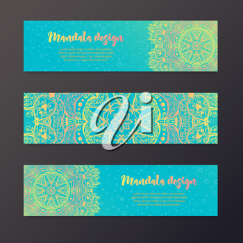 Mandala banner, Indian style. Bohemian Cards Unique cards for printing supplies for yoga studio