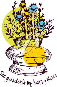 Lettering the garden is my happy place. Bouquet in a vase of twigs, blue berries, flowers. Vector illustration in sketch style