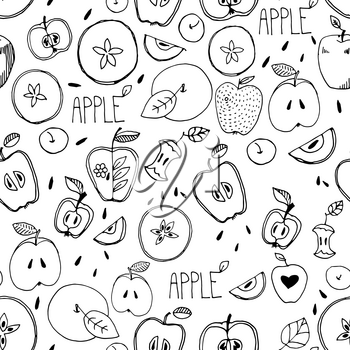 Freehand drawing. Seamless pattern. Sketch of an apple, leaf, apple seeds,  apple and a cut apple. drawn by hand. Custard apple. Incision cream apple.