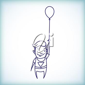 Cartoon Businessman superman in a raincoat on a balloon on a white background in the style of doodle