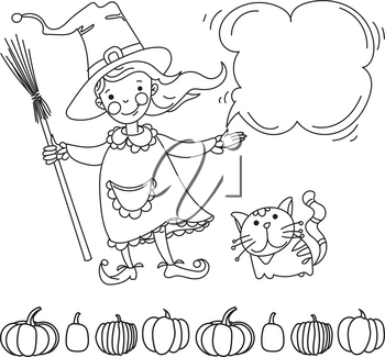 Pretty witch with cat doodle style. Banner for your design flyers, invitations,  posters
