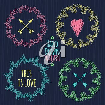 Hand drawn set of different colored hipster vintage wedding wreaths, words and hearts for invitations and decorations