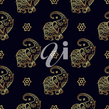 Gold elephant seamless pattern. Texture for scrapbooking, wrapping paper, textiles, home decor, skins smartphones, website, web page, textile wallpapers, surface design fashion wallpaper