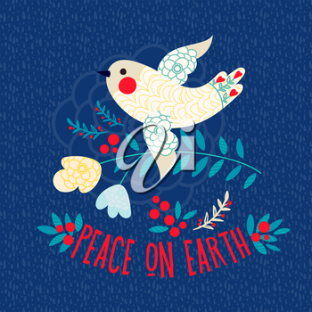 Christmas card. Peace on earth. Vintage White dove on a blue background with flowers and berries.