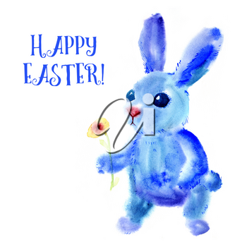 Blue Easter Bunny. Watercolor greeting card, print on t-shirt, bag, bag Smartphone. Religious symbol of spring holiday Easter