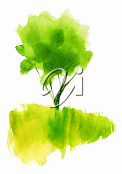 Green watercolor tree in the field. A symbol of ecology, freshness, naturalness and organic. Suitable for ecological postcards, decorations, logo, prints for packaging, T-shirts, handmade bags, tags
