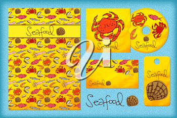 Stationery design template with seafood. Documentation for business. Menu for the restaurant. Corporate Identity.