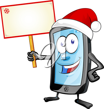 fun christmas  mobile cartoon with signboard isolated on white background