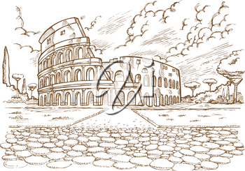 colosseum hand draw on white background