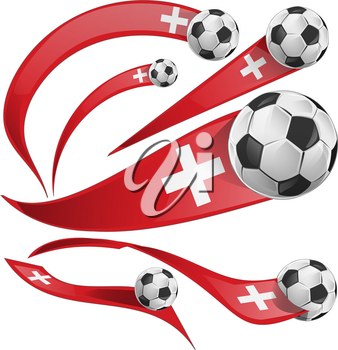 swiss flag set with soccer ball