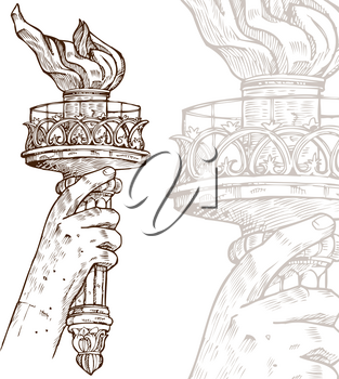 statue of liberty with torch on white background