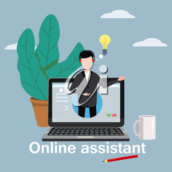 Concept online assistant, customer and operator, call centre, online global technical support 24-7.
