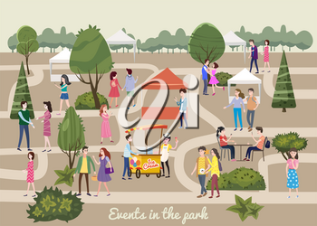 Different various people at park characters, men and women in the park, on vacation, events walk, meet, buy, communicate among themselves, vector, banner, illustration, isolated