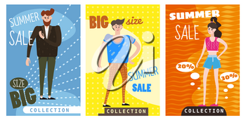 Cards for selling clothes, different sizes, characters for men and women, large-scale clothing, modern style graphics, posters, banners, advertising