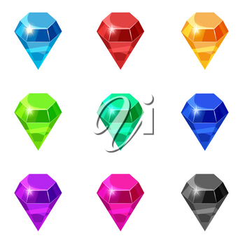 Set Diamonds isolated different colors on white background, cartoon style