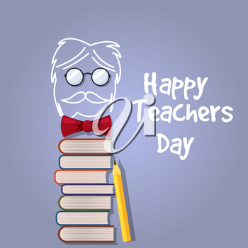 Happy Teacher Day vector. Illustration with books and glasses, chalk, board