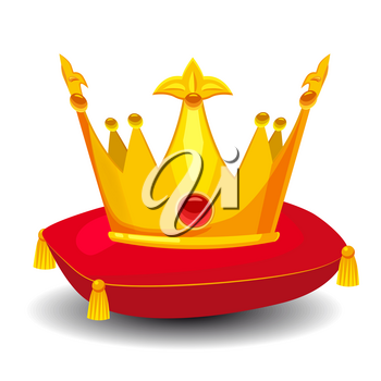 Gold crown with precious stones, on red pillow, cartoon style