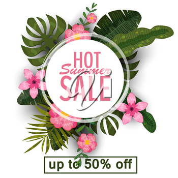 Sale banner, poster with palm leaves, jungle leaf and tropical flowers.