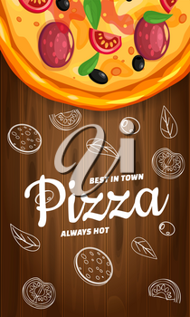 Pizza Pizzeria Italian template vertical flyer baner with ingredients and text on wooden background