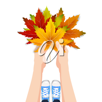 Hands hold autumn colorful leaves bright bouquet fall, floral. Hello Autumn lettering