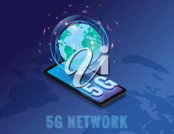 Isometric 5G network wireless technology template. Smartphone with Earth plane