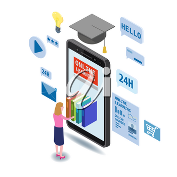 Online education isometric icons composition with little women taking books from smartphone