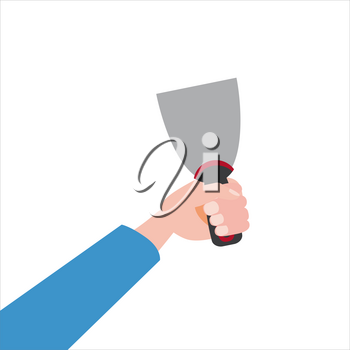 Hand holds putty knife, tool, illustration vector isolated