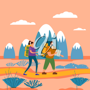 Tourists cute couple in love performing outdoor touristic activity - adventure travel, hiking walking trip