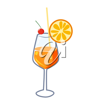 Cocktail Sex On Beach alcohol drinks icon. Summer beverage, vector illustration cartoon style