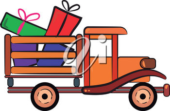 A wooden truck packed with loads of wrapped Christmas gifts for everyone vector color drawing or illustration