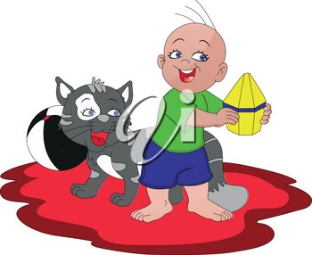 Vector illustration of boy having fun with cat.