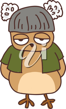 A sleepy owl wearing a green coat with his hands behind his back vector color drawing or illustration