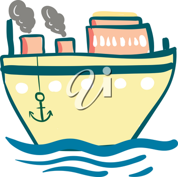 A light yellow steam ship with its anchors down vector color drawing or illustration